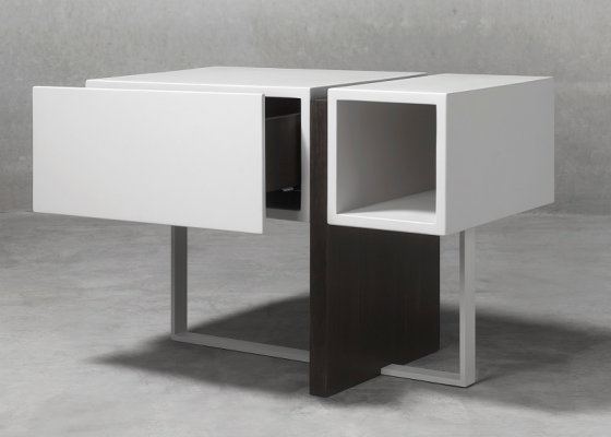 Lacquered bedside tables with wood and steel. Mod. SAMIA