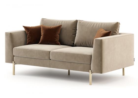 Design sofa upholstered in velvet and stainless steel frame. Mod. ESTELLE-2