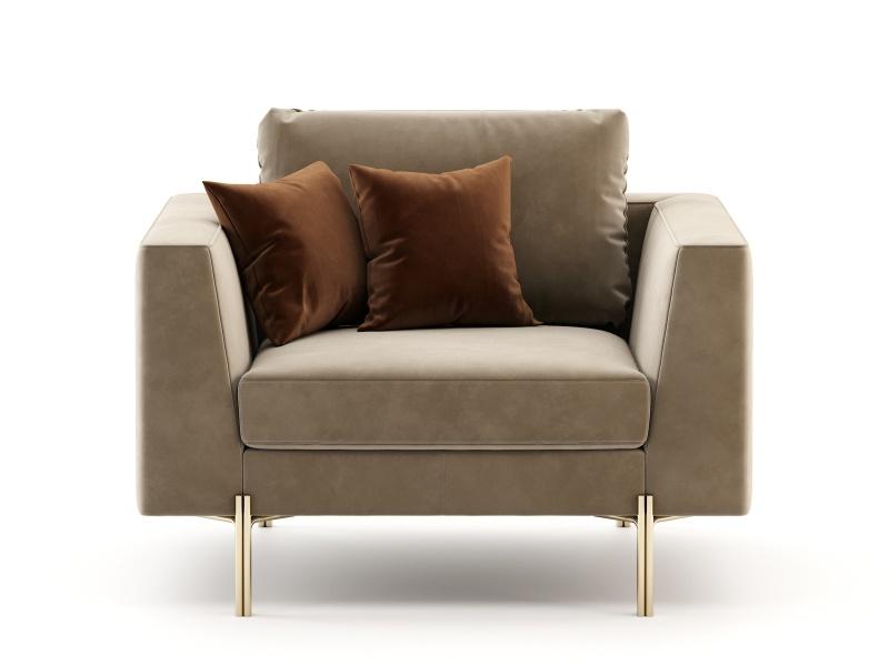 Design armchair upholstered in velvet and stainless steel frame. Mod. ESTELLE