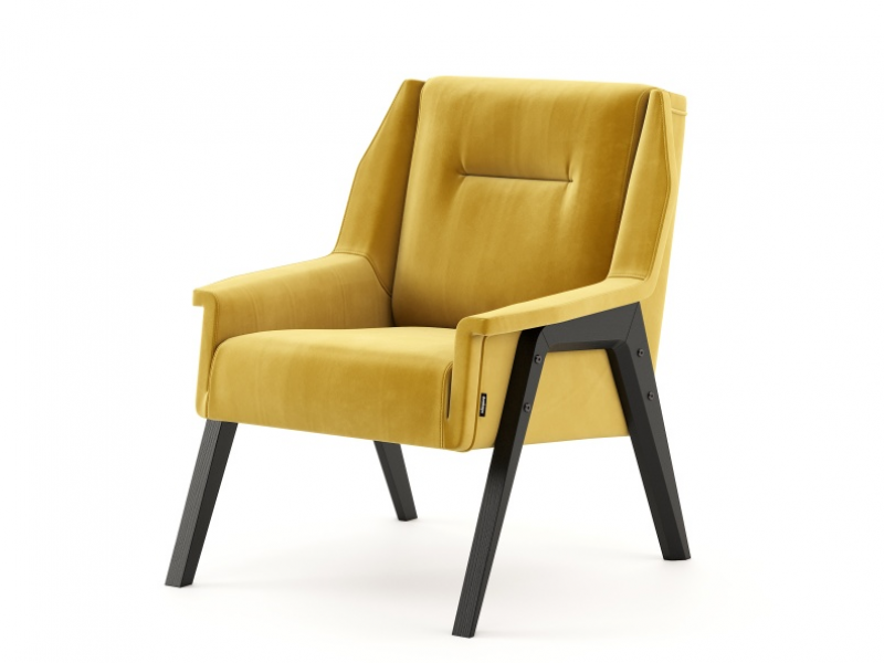 Upholstered armchair with wood frame. Mod. COLETTE