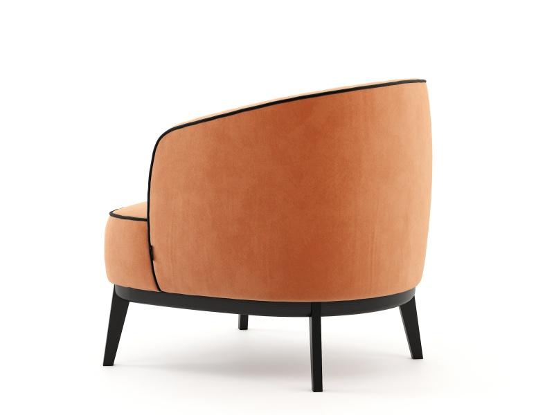 Upholstered armchair in velvet. Mod. ALIZEE