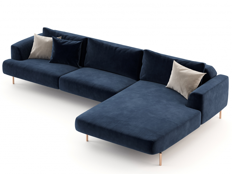 Design sofa with chaise longue and stainless steel bases. Mod: CELINE