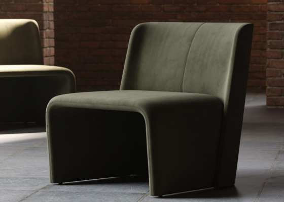 Design armchair upholstered in velvet. Mod. LOANA