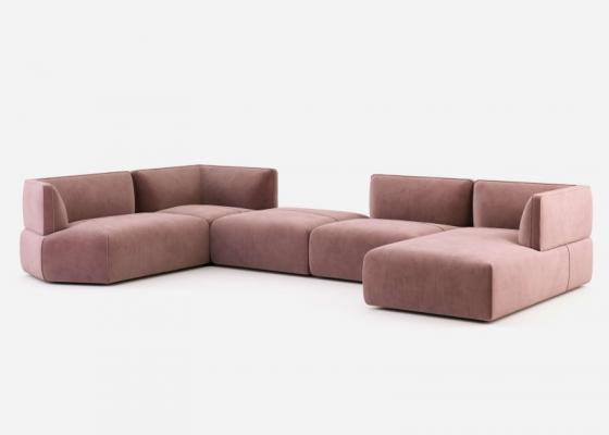 Modular design sofa upholstered in velvet. Mod. TESTACCIO