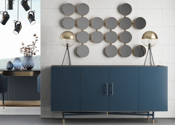 Design lacquered sideboard with marble top. Mod. MONSIEUR