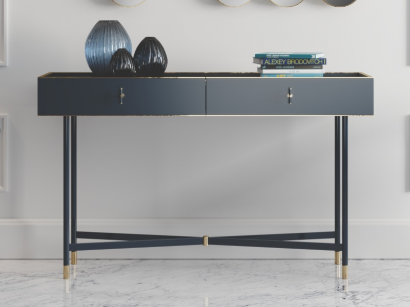 Lacquered design console with marble top. Mod. MONSIEUR