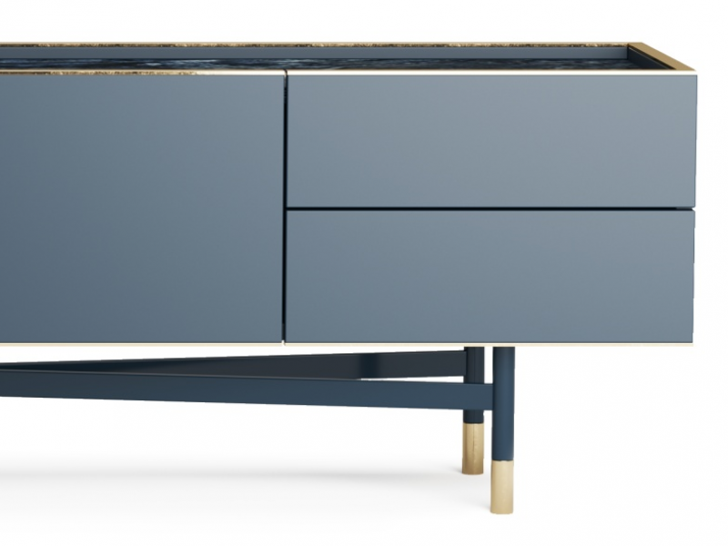 TV lacquered design stand with marble top. Mod. MONSIEUR