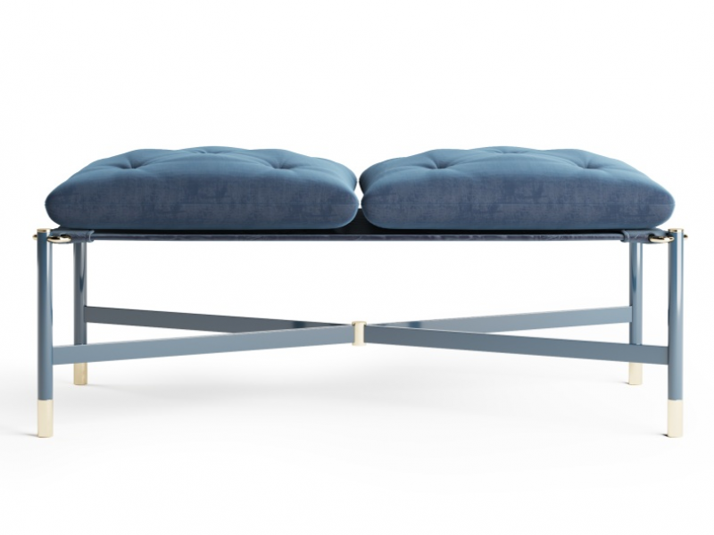Design upholstered bench in velvet. Mod. MONSIEUR