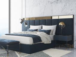 Complete design upholstered bed in velvet. Mod. MONSIEUR