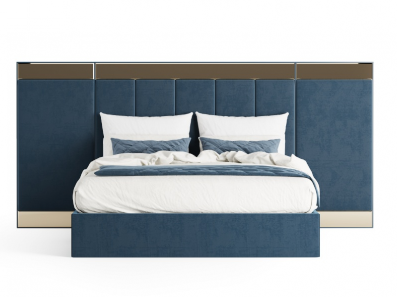 Complete design upholstered bed in velvet. Mod. MONSIEUR