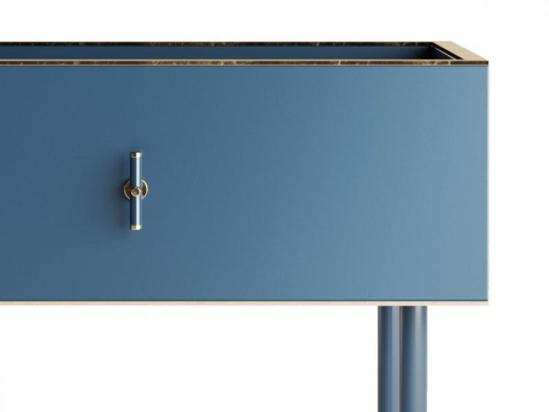 Lacquered bedside tables with marble top. Mod. MONSIEUR