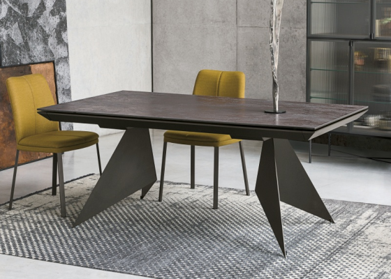 Extendable dining table with ceramic top. Mod. VENT