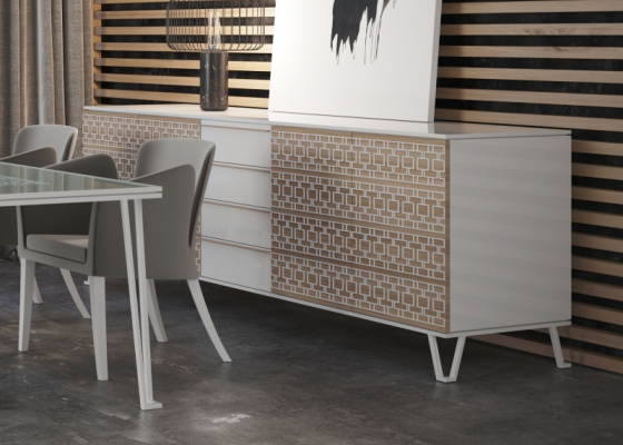 Design sideboard in wood and lacquer. Mod. POSITANO