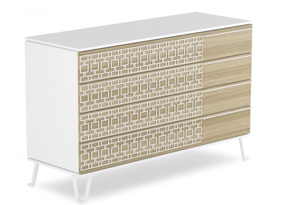 Lacquered dresser with oak fronts and steel. Mod, POSITANO