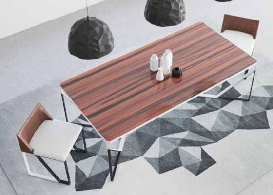 Fixed dining table with wood top and steel structure.Mod: AJACCIO