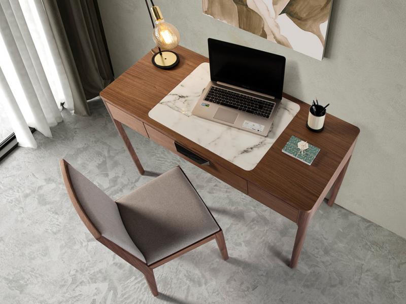Dressing table / desk in American walnut veneer.Mod: VALENTINO