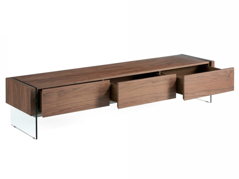 Walnut veneered TV stand with tempered glass sides. Mod. MARCO WALNUT