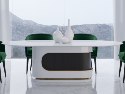 Design fixed dining table in gloss lacquer. Mod. BARUS