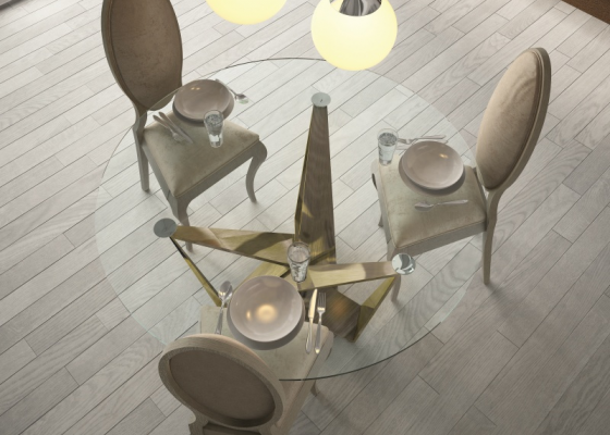Round and fixed dining table with glass top. Mod: DIMA GLASS