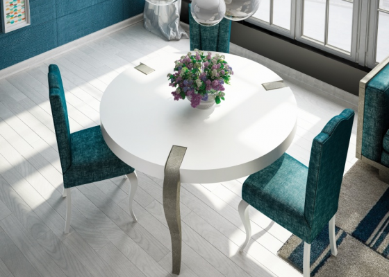 Round table with lacquered top and legs.Mod: DAMME