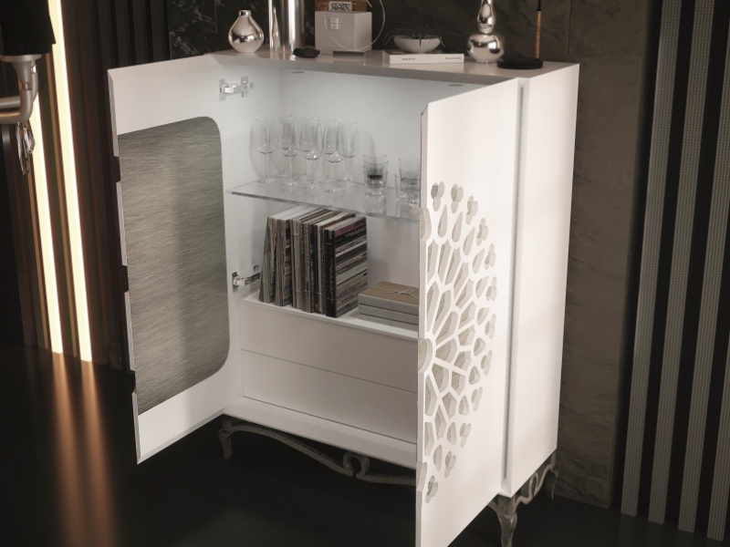 Lacquered showcase with 2 doors Mod: LUXE