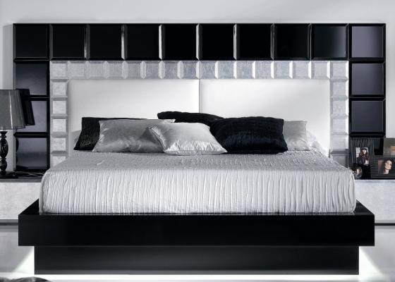 Lacquered complete bed. Mod. NATASSIA BLACK