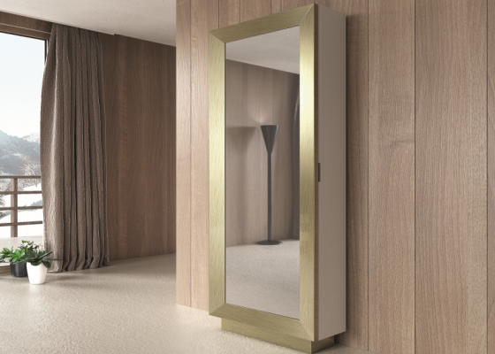 Lacquered shoe rack column with mirror.Mod: ANTHEA