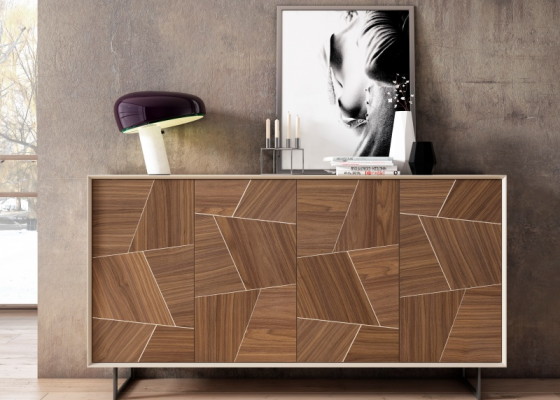 4-door sideboard with American walnut wood on fronts. Mod. YVETTE