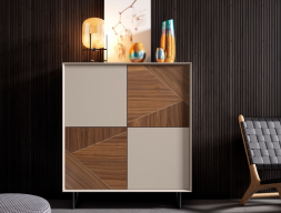 4-door high sideboard with lacquered and American walnut fronts. Mod. HENRIETTE
