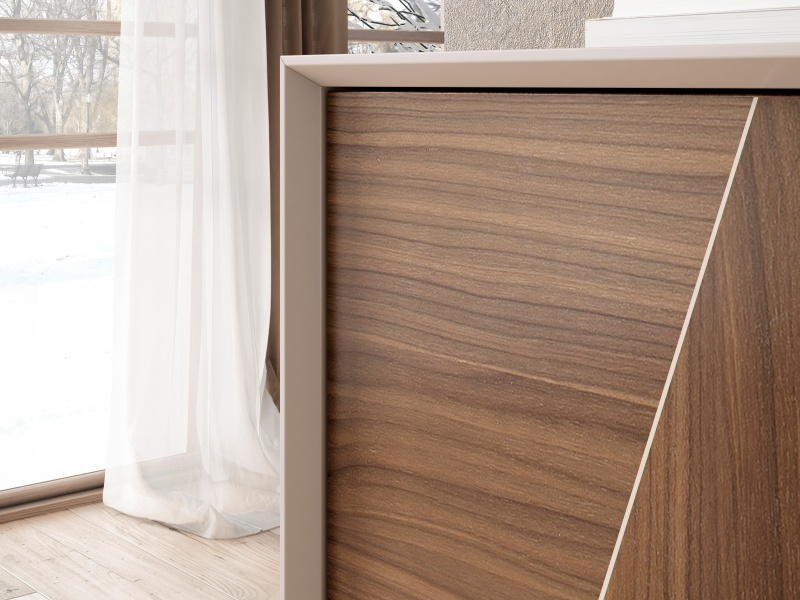 Lacquered sideboard showcase with American walnut doors. Mod SOLENE
