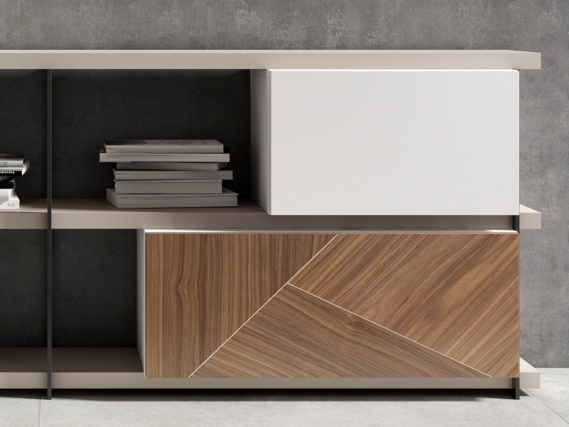 Lacquered bookcase with American walnut fronts. Mod. NICOLE