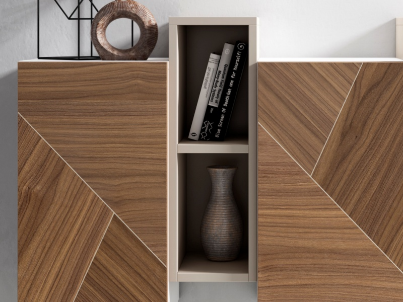 Entrance lacquered console with American walnut fronts. Mod. SOPHIE WALNUT