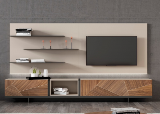 Lacquered modular composition and American walnut wood with LED lighting. Mod. MAGALIE