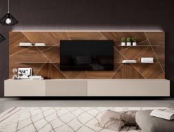 Lacquered modular composition and American walnut wood with LED lighting. Mod. LUCILE