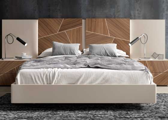Complete bed with lacquered headboard with American walnut wood central panels and led lighting.Mod: LUCILE