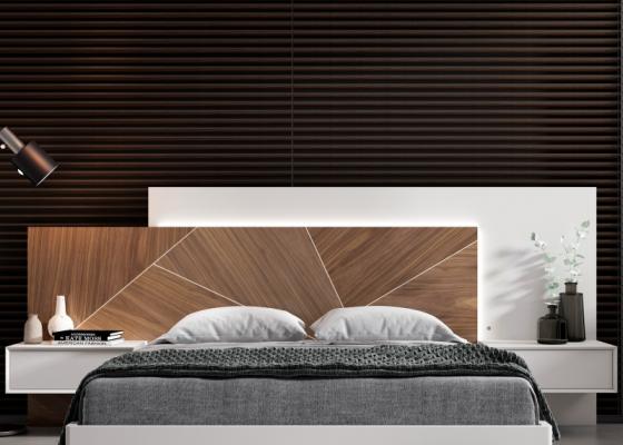 Cabecero con plaf�n lacado, pafl�n en madera de nogal americano y luz led. Mod: SILVAIN