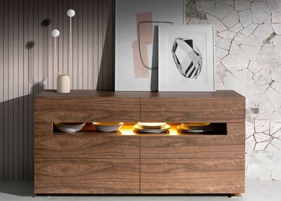 Walnut sideboard with interior lighting.Mod: TAUREAU