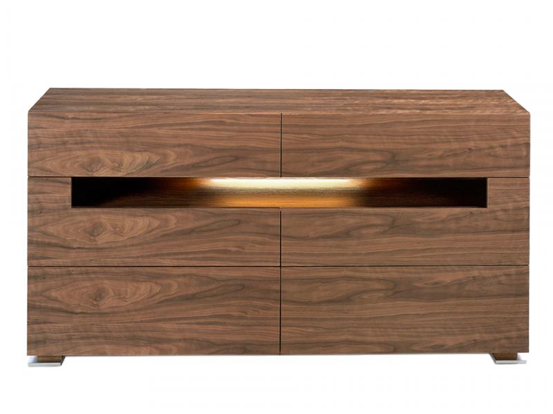 Walnut sideboard with interior lighting.Mod: TAUREAU