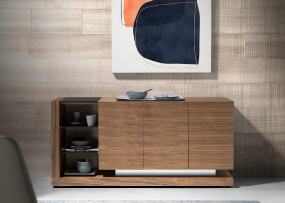 Walnut sideboard and black tinted glass .Mod: CASCAES