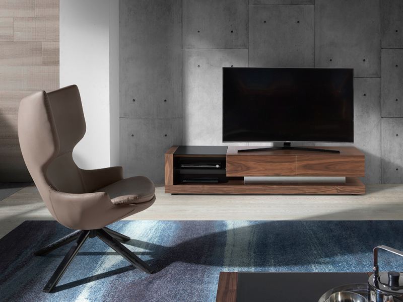 Walnut TV cabinet and black tinted glass.Mod: CASCAES