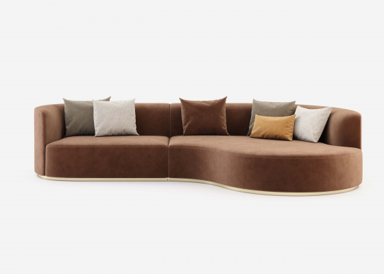 Design sofa with chaise longue and stainless steel bases. Mod: MANAROLA