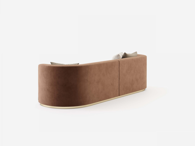 Design sofa with stainless steel frame . Mod. MANAROLA 3P