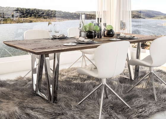Fixed oak wood dining table with stainless steel legs. Mod. LINDAU