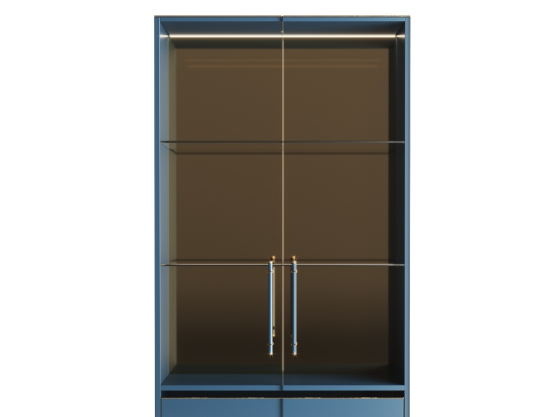 Lacquered cabinet with 2 doors and  4 drawers.Mod. MONSIEUR