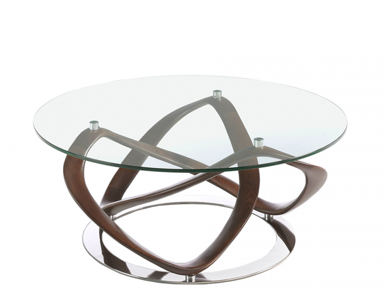 Round coffee table in tempered glass top  and structure in solid wood .DAMA
