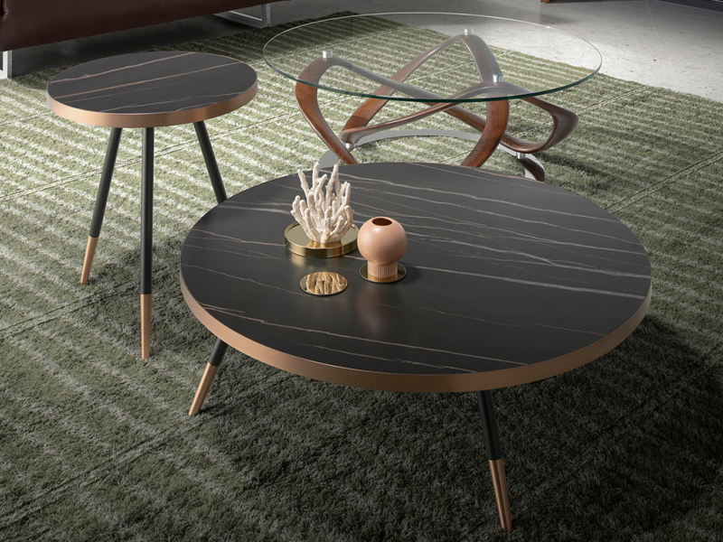 Ceramic black marble and steel round coffee table.Mod. RIGA