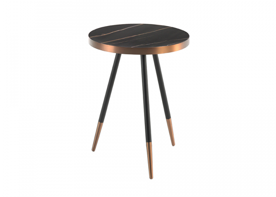 Ceramic black marble and steel round corner table.Mod. RIGA