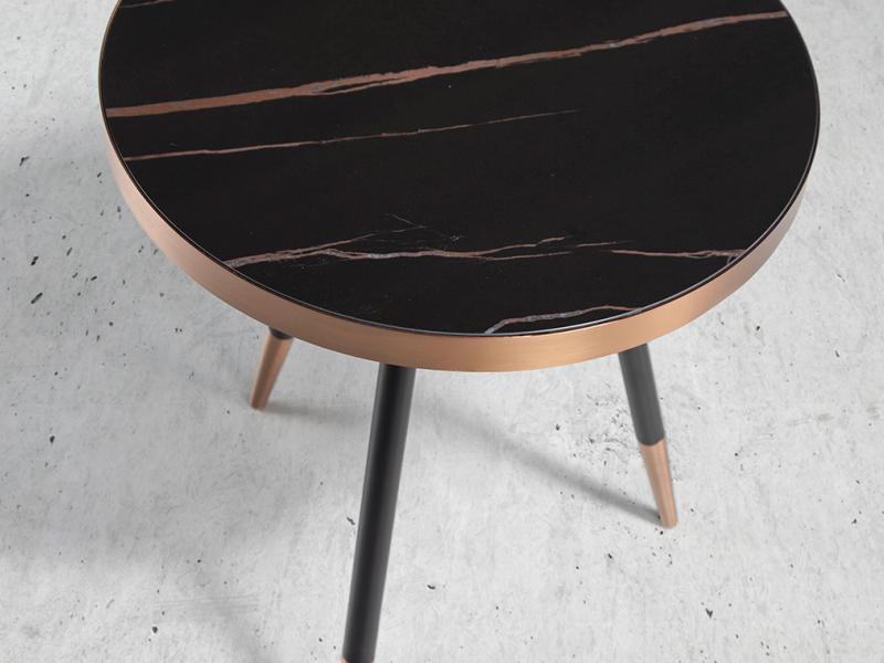 Ceramic black marble and steel round corner table.Mod. RIGA