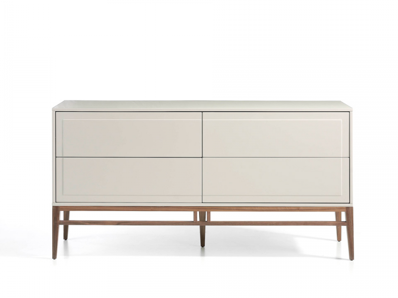 Lacquered sideboard 4 drawers with walnut structure. Mod: CERVO