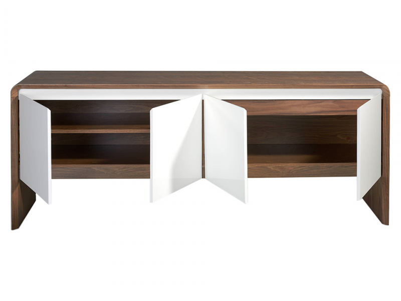 Sideboard in walnut wood with 4 lacquered folding doors.Mod: CURVE